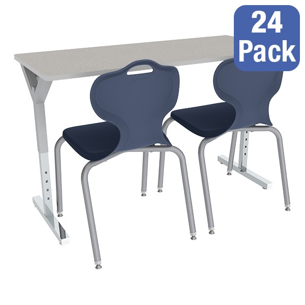 Adjustable-Height Y-Frame Two-Student Desk and 18-Inch Profile Series School Chair Set – Desks/Chairs for 24 Students
