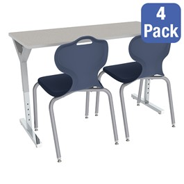 Adjustable-Height Y-Frame Two-Student Desk and 18-Inch Profile Series School Chair Set – Desks/Chairs for Four Students