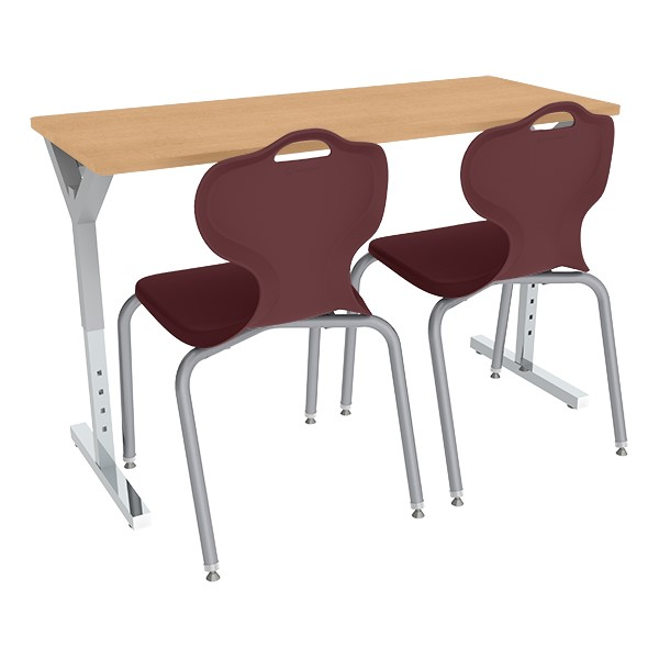 Adjustable-Height Y-Frame Two-Student Desk and 18-Inch Profile Series School Chair Set
