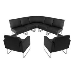 Seven-Piece Modular Soft Seating Set – Fits 100 sq. ft. area