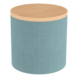 Shapes Series II Soft Seating Tabletop - Cylinder - Blue Crosshatch w/ Maple Tabletop