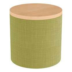 Shapes Series II Soft Seating Tabletop - Cylinder - Green Crosshatch w/ Maple Tabletop