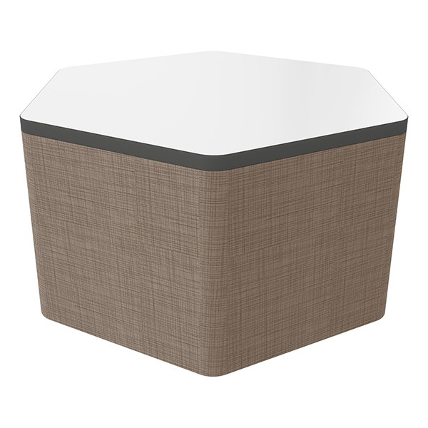 """Shapes Series II Soft Seating Whiteboard Tabletop - Hex (18"""" High) - Brown Crosshatch"""
