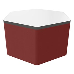 """Shapes Series II Soft Seating Whiteboard Tabletop - Hex (18"""" High) - Burgundy Smooth Grain"""