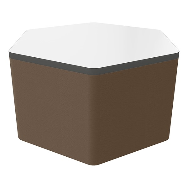"""Shapes Series II Soft Seating Whiteboard Tabletop - Hex (18"""" High) - Chocolate Smooth Grain"""