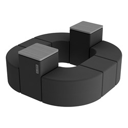 Shapes Series II Vinyl Soft Seating - Donut Set w/ Two Power Dividers - Black Smooth Grain Seats w/ Cosmic Strandz Tabletops