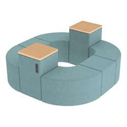 Shapes Series II Vinyl Soft Seating - Donut Set w/ Two Power Dividers - Blue Crosshatch Seats w/ Maple Tabletops