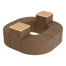 Shapes Series II Vinyl Soft Seating - Donut Set w/ Two Power Dividers - Brown Crosshatch Seats w/ Maple Tabletops
