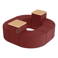 Shapes Series II Vinyl Soft Seating - Donut Set w/ Two Power Dividers - Burgundy Smooth Grain Seats w/ Maple Tabletops