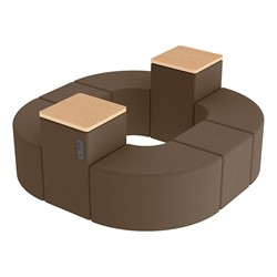 Shapes Series II Vinyl Soft Seating - Donut Set w/ Two Power Dividers - Chocolate Smooth Grain Seats w/ Maple Tabletops