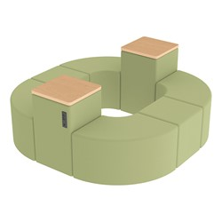 Shapes Series II Vinyl Soft Seating - Donut Set w/ Two Power Dividers - Fern Green Smooth Grain Seats w/ Maple Tabletops