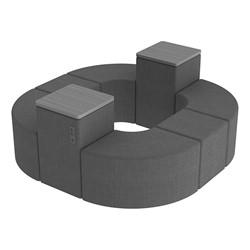 Shapes Series II Vinyl Soft Seating - Donut Set w/ Two Power Dividers - Gray Crosshatch Seats w/ Cosmic Strandz Tabletops