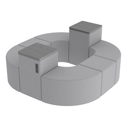 Shapes Series II Vinyl Soft Seating - Donut Set w/ Two Power Dividers - Light Gray Smooth Grain Seats w/ Cosmic Strandz Tabletops