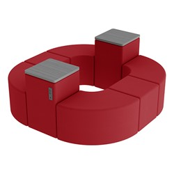 Shapes Series II Vinyl Soft Seating - Donut Set w/ Two Power Dividers - Red Smooth Grain Seats w/ Cosmic Strandz Tabletops