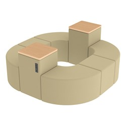 Shapes Series II Vinyl Soft Seating - Donut Set w/ Two Power Dividers - Sand Smooth Grain Seats w/ Maple Tabletops