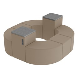 Shapes Series II Vinyl Soft Seating - Donut Set w/ Two Power Dividers - Taupe Smooth Grain Seats w/ Cosmic Strandz Tabletops