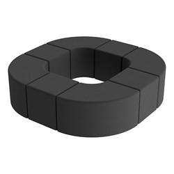 Shapes Series II Vinyl Soft Seating - Donut Set - Black Smooth Grain