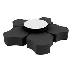 "Shapes Series II Vinyl Soft Seating Set - Cog Flower w/ Whiteboard Large Round (12"" H & 18"" H) - Black Smooth Grain"