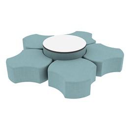 "Shapes Series II Vinyl Soft Seating Set - Cog Flower w/ Whiteboard Large Round (12\"" H & 18\"" H) - Blue Crosshatch"