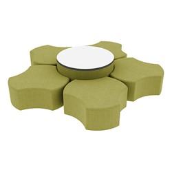 "Shapes Series II Vinyl Soft Seating Set - Cog Flower w/ Whiteboard Large Round (12"" H & 18"" H) - Green Crosshatch"