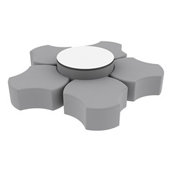 """Shapes Series II Vinyl Soft Seating Set - Cog Flower w/ Whiteboard Large Round (12"""" H & 18"""" H) - Light Gray Smooth Grain"""
