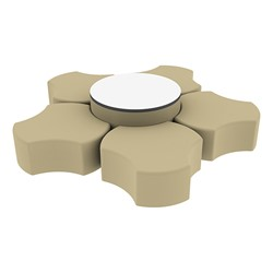 """Shapes Series II Vinyl Soft Seating Set - Cog Flower w/ Whiteboard Large Round (12"""" H & 18"""" H) - Sand Smooth Grain"""