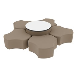 """Shapes Series II Vinyl Soft Seating Set - Cog Flower w/ Whiteboard Large Round (12"""" H & 18"""" H) - Taupe Smooth Grain"""
