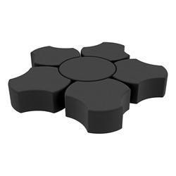 "Shapes Series II Vinyl Soft Seating Set - Cog Flower (12"" H) - Black Smooth Grain"
