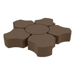 "Shapes Series II Vinyl Soft Seating Set - Cog Flower (12"" H) - Chocolate Smooth Grain"