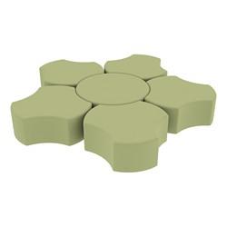 "Shapes Series II Vinyl Soft Seating Set - Cog Flower (12"" H) - Fern Green Smooth Grain"
