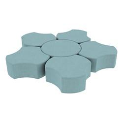 """Shapes Series II Vinyl Soft Seating Set - Cog Flower (12"""" H) - Blue Crosshatch"""