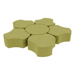 "Shapes Series II Vinyl Soft Seating Set - Cog Flower (12"" H) - Green Crosshatch"