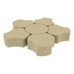 "Shapes Series II Vinyl Soft Seating Set - Cog Flower (12"" H) - Sand Smooth Grain"