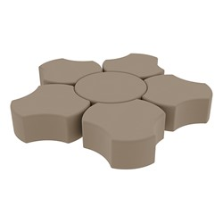 """Shapes Series II Vinyl Soft Seating Set - Cog Flower (12"""" H) - Taupe Smooth Grain"""