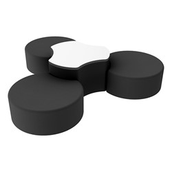 "Shapes Series II Vinyl Soft Seating Set - Three Crescents (12"" H) & Whiteboard Cog (18"" H) - Black Smooth Grain"