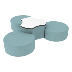 "Shapes Series II Vinyl Soft Seating Set - Three Crescents (12"" H) & Whiteboard Cog (18"" H) - Blue Crosshatch"