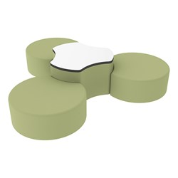 "Shapes Series II Vinyl Soft Seating Set - Three Crescents (12"" H) & Whiteboard Cog (18"" H) - Fern Green Smooth Grain"