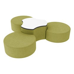"Shapes Series II Vinyl Soft Seating Set - Three Crescents (12"" H) & Whiteboard Cog (18"" H) - Green Crosshatch"
