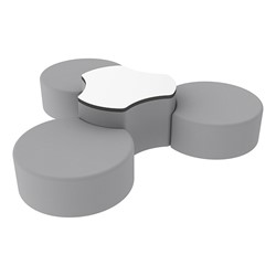 "Shapes Series II Vinyl Soft Seating Set - Three Crescents (12"" H) & Whiteboard Cog (18"" H) - Light Gray Smooth Grain"