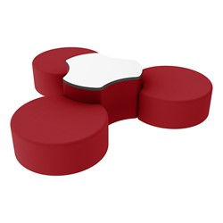 "Shapes Series II Vinyl Soft Seating Set - Three Crescents (12"" H) & Whiteboard Cog (18"" H) - Red Smooth Grain"