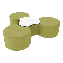 "Shapes Series II Vinyl Soft Seating Set - Three Crescents (18"" H) & Whiteboard Large Cog (18\"" H) - Green Crosshatch"