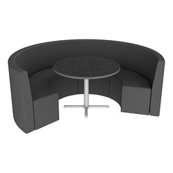 Shapes Series II Structured Vinyl Soft Seating - Curved Café - Black Seats w/ Graphite Nebula Table