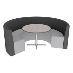 Shapes Series II Structured Vinyl Soft Seating - Curved Café - Black & Light Gray Seats w/ Gray Nebula Table
