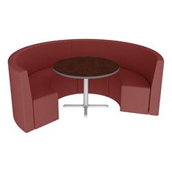 Shapes Series II Structured Vinyl Soft Seating - Curved Café - Burgundy Seats w/ Figured Mahogany Table