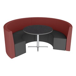 Shapes Series II Structured Vinyl Soft Seating - Curved Café - Burgundy & Black Seats w/ Graphite Nebula Table