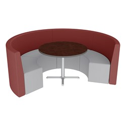 Shapes Series II Structured Vinyl Soft Seating - Curved Café - Burgundy & Light Gray Seats w/ Figured Mahogany Table