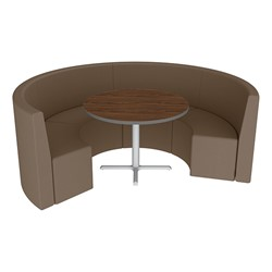 Shapes Series II Structured Vinyl Soft Seating - Curved Café - Chocolate Seats w/ Montana Walnut Table