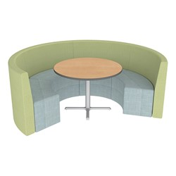 Shapes Series II Structured Vinyl Soft Seating - Curved Café - Green & Blue Seats w/ Limber Maple Table