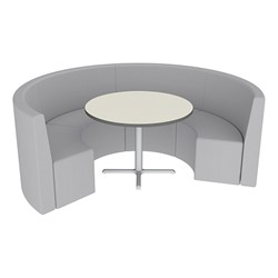 Shapes Series II Structured Vinyl Soft Seating - Curved Café - Light Gray Seats w/ Crisp Linen Table