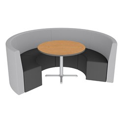 Shapes Series II Structured Vinyl Soft Seating - Curved Café - Light Gray & Black Seats w/ Bannister Oak Table